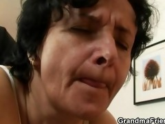 granny in white lingerie swallowing ramrods after