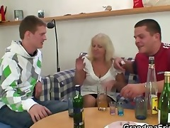 drinking leads to threesome fuckfest with granny