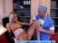 blonde hottie anal fucked by a ribald doctor