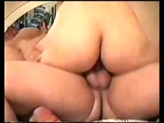 non-professional threesome with fat dude
