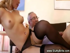 young girl masturbates and fucks old chap