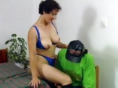 blindfolded aged lady banged on table