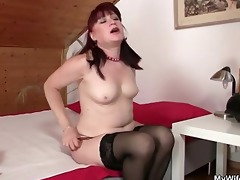 hawt mother in law rides his cock and acquires