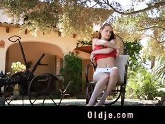 lewd young landlady copulates her old gardener