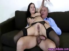 hot stockings bitch gets a cumshot
