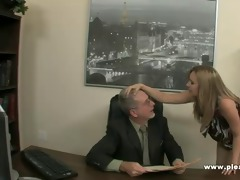 young slut will do everything to keep the job