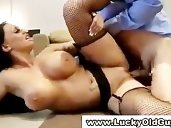 big titted euro babe in stockings sucks old man