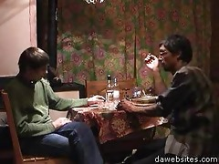 two lads drinking vodka and an aged one trying to
