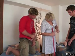 cleaning woman receives her old cum-hole filled