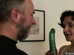 old doxy takes both knobs after pussy toying