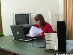old bitch takes two schlongs in the office