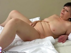 old mature masturbates with toy and then with a