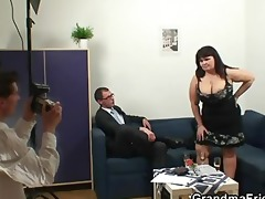 fat slut getting double fucked after photosession