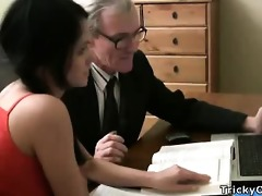 pretty young student enticed by an old fart