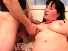 overweight mama with saggy boobs, hairy twat
