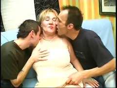 thick aged mother gets her tits sucked by young