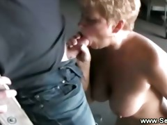 blonde mature sucking off her younger man in the