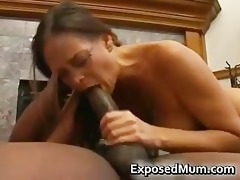 sexy milf in glasses deepthroating black part3