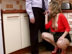 young euro babe gives head to old fellow