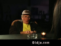 old john blind date with young brunette