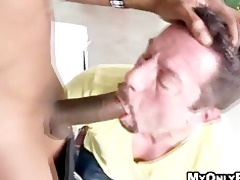white guys engulf a younger darksome dude in his