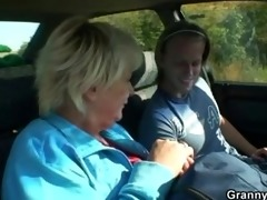 old floozy receives nailed in the car by a