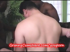 granny team-fucked and young girl sucks her clean