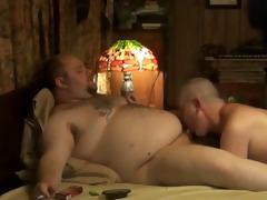 white dad swallows youthful bear cum
