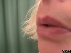 horny blond granny double penetration