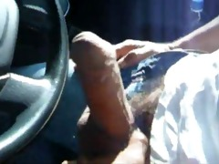a daddy shows his cock in public from truck