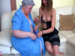 large plump granny with a cute girl
